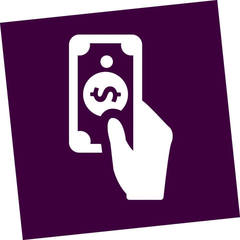 hand houd geld vast icoon