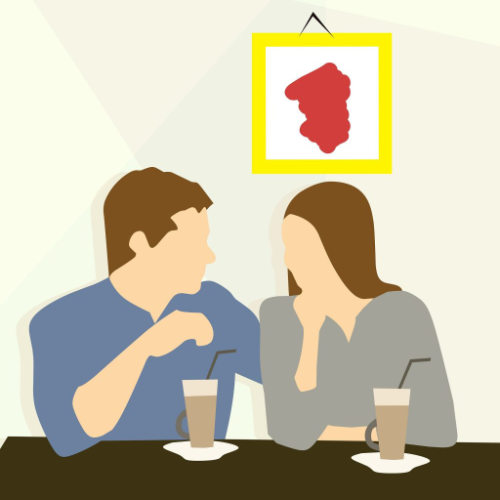 tekening van man en vrouw die samen koffie drinken