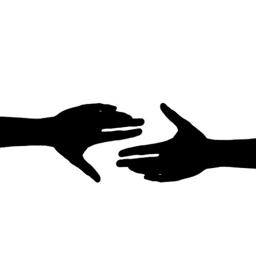 silhouette handen reiken naar elkaar