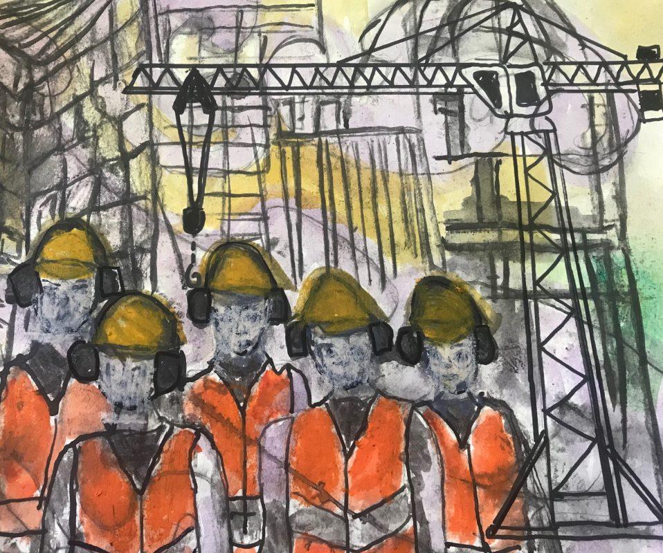 Omslag nodig in uitzendbranche mannen in fluor kleding
